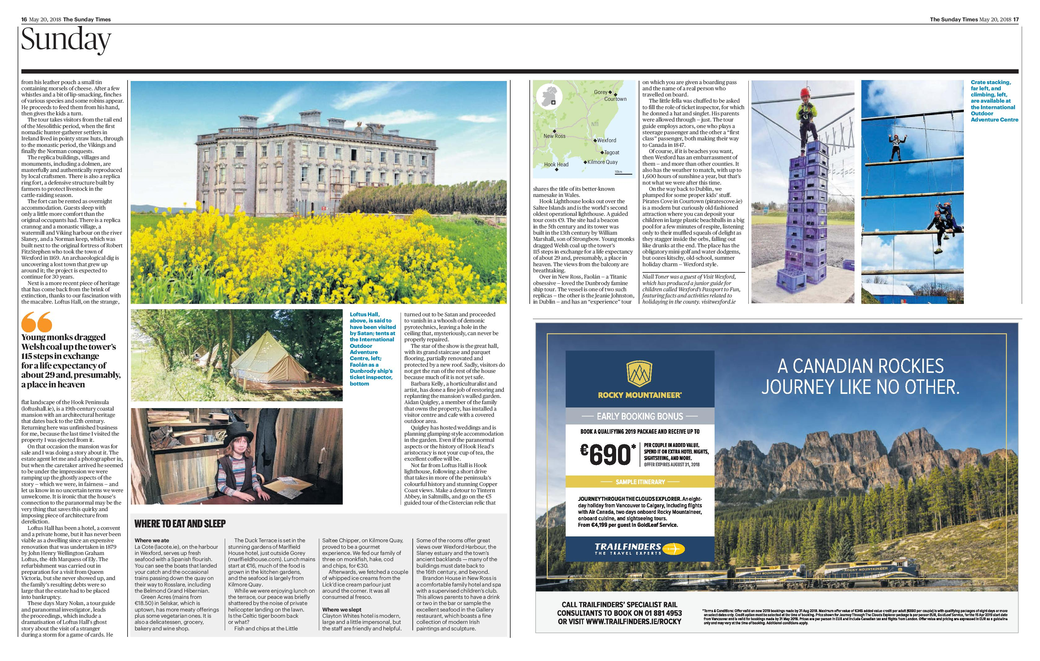 The Sunday Times, 20th May 2018 - Visit Wexford